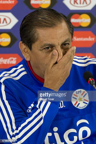 Ramon Diaz coach of Paraguay gestures during a press conference at Alcaldesa Ester Roa Rebolledo Municipal Stadium on June 26 2015 in Concepcion...