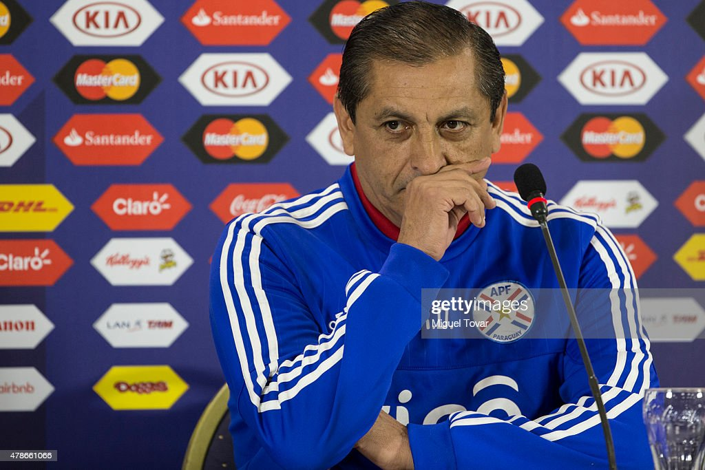 <a gi-track='captionPersonalityLinkClicked' href=/galleries/search?phrase=Ramon+Diaz&family=editorial&specificpeople=2607555 ng-click='$event.stopPropagation()'>Ramon Diaz</a> coach of Paraguay gestures during a press conference at Alcaldesa Ester Roa Rebolledo Municipal Stadium on June 26 2015 in Concepcion, Chile. Paraguay will face Brazil as part of 2015 Copa America Chile quarter final on June 27.