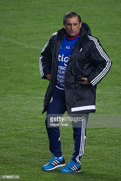 Ramon Diaz coach of Paraguay looks on before a training session at Alcaldesa Ester Roa Rebolledo Municipal Stadium on June 26 2015 in Concepcion...