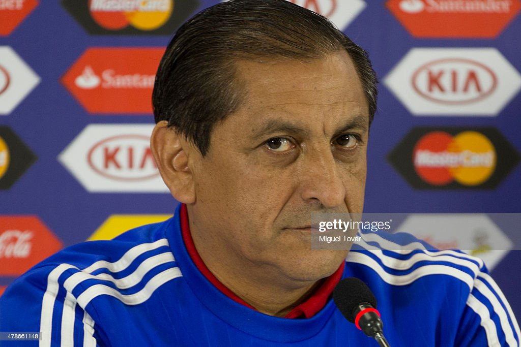 <a gi-track='captionPersonalityLinkClicked' href=/galleries/search?phrase=Ramon+Diaz&family=editorial&specificpeople=2607555 ng-click='$event.stopPropagation()'>Ramon Diaz</a> coach of Paraguay looks on during a press conference at Alcaldesa Ester Roa Rebolledo Municipal Stadium on June 26 2015 in Concepcion, Chile. Paraguay will face Brazil as part of 2015 Copa America Chile quarter final on June 27.
