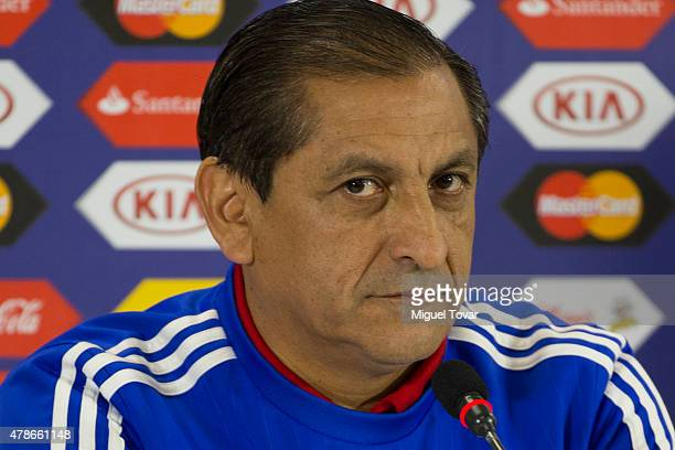 Ramon Diaz coach of Paraguay looks on during a press conference at Alcaldesa Ester Roa Rebolledo Municipal Stadium on June 26 2015 in Concepcion...