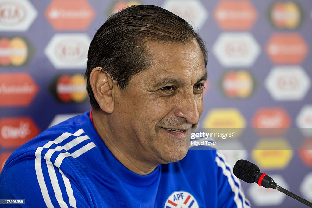 <a gi-track='captionPersonalityLinkClicked' href=/galleries/search?phrase=Ramon+Diaz&family=editorial&specificpeople=2607555 ng-click='$event.stopPropagation()'>Ramon Diaz</a> coach of Paraguay reacts during a press conference at Alcaldesa Ester Roa Rebolledo Municipal Stadium on June 29 2015 in Concepcion, Chile. Paraguay will face Argentina as part of 2015 Copa America Chile Semi Final on June 30.
