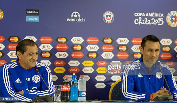 Ramon Diaz coach of Paraguay smiles during a press conference at Alcaldesa Ester Roa Rebolledo Municipal Stadium on June 26 2015 in Concepcion Chile...