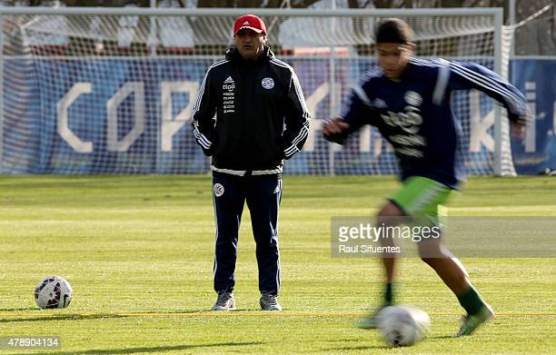 Ramon Diaz coach of Paraguay watches his players during a training session at ENAP training camp as part of 2015 Copa America Chile on June 28 2015...