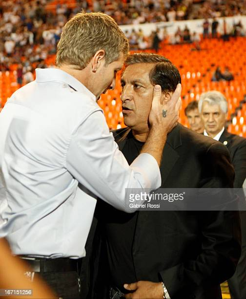 Ramon Diaz coach of River Plate and Martín Palermo coach of Godoy Cruz greet before the match between Godoy Cruz and River Plate as part of the...
