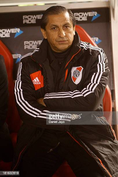 Ramon Diaz coach of River Plate before a match between River Plate and All Boys as part of the Torneo Inicial 2013 at Monumental Stadium on September...