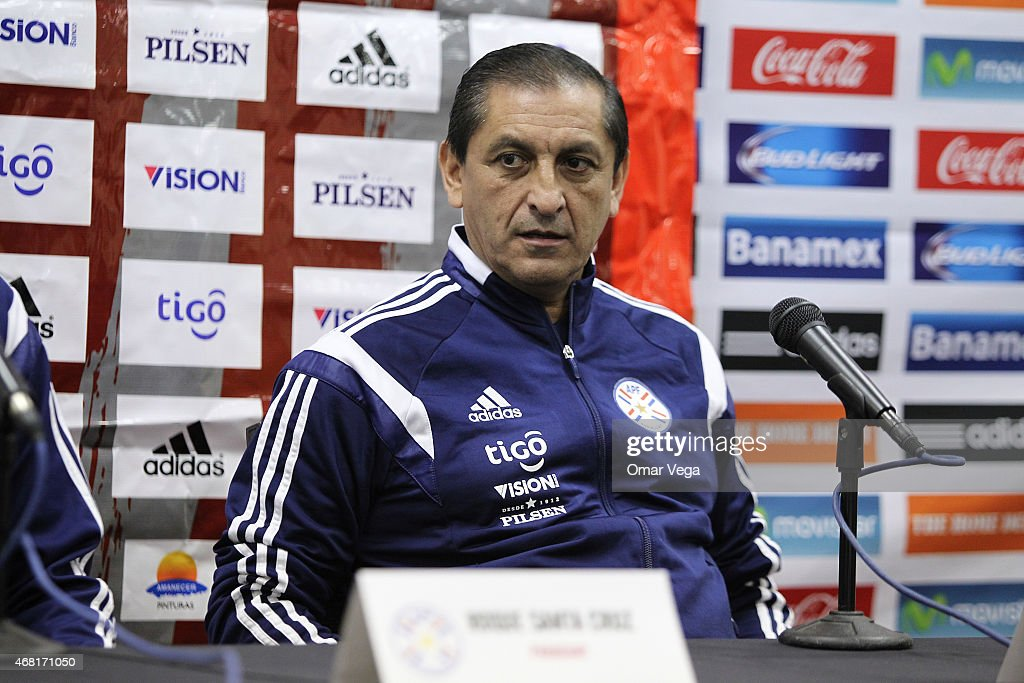 <a gi-track='captionPersonalityLinkClicked' href=/galleries/search?phrase=Ramon+Diaz&family=editorial&specificpeople=2607555 ng-click='$event.stopPropagation()'>Ramon Diaz</a> head coach of Paraguay attends a press conference at Arrowhead Stadium on March 30, 2015 in Kansas City, United States.