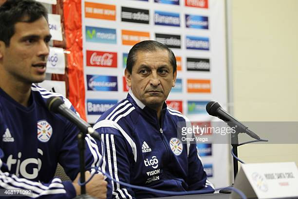 Ramon Diaz head coach of Paraguay attends a Press Conference at Arrowhead Stadium on March 30 2015 in Kansas City United States
