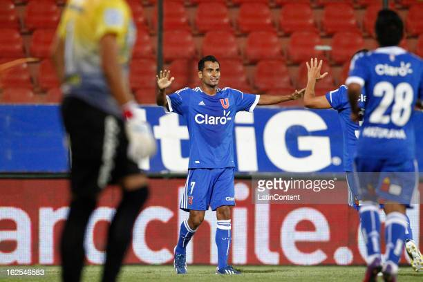 Ramon Fernandez of Universidad de Chile celebrates his goal during a match between Universidad de Chile and San Marcos as part of the Torneo...