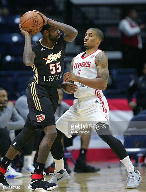 Ramon Galloway of the Erie BayHawks looks for a pass as Gary Payton II of the Rio Grande Valley Vipers defends at the State Farm Arena November 20...