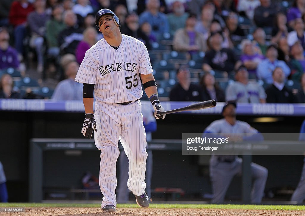 <a gi-track='captionPersonalityLinkClicked' href=/galleries/search?phrase=Ramon+Hernandez&family=editorial&specificpeople=179461 ng-click='$event.stopPropagation()'>Ramon Hernandez</a> #55 of the Colorado Rockies reacts after popping out against the New York Mets to end the 10th inning at at Coors Field on April 29, 2012 in Denver, Colorado. The Mets defeated the Rockies 6-5 in 11 innings.