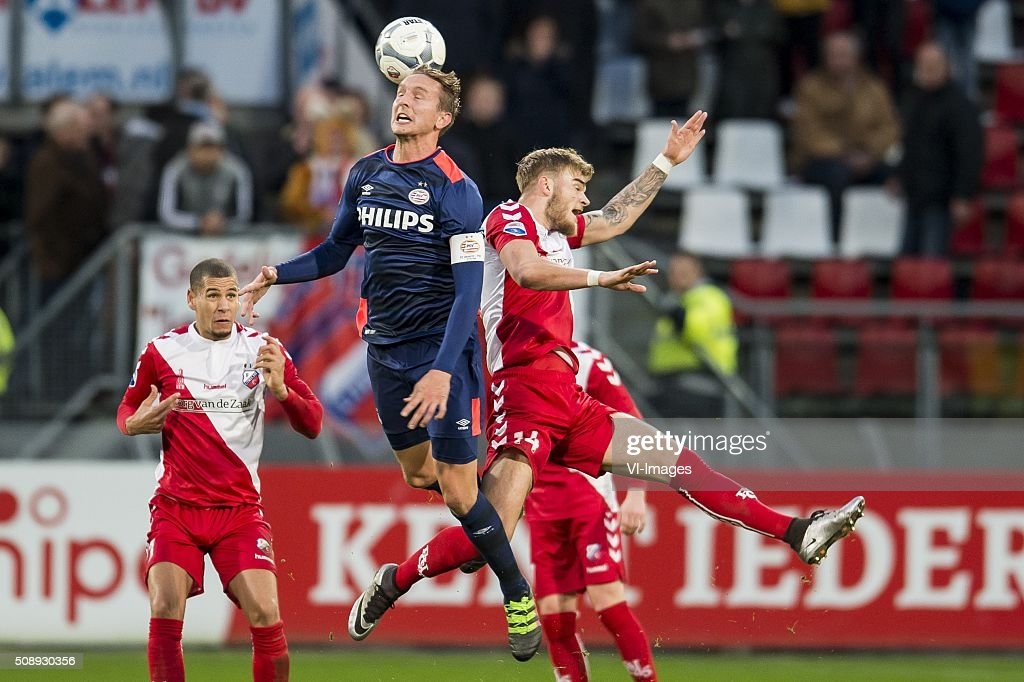 Ramon Leeuwin of FC Utrecht, Luuk de Jong of PSV, Timo Letschert of FC Utrecht during the Dutch Eredivisie match between FC Utrecht and PSV Eindhoven at the Galgenwaard Stadium on February 07, 2016 in Utrecht, The Netherlands
