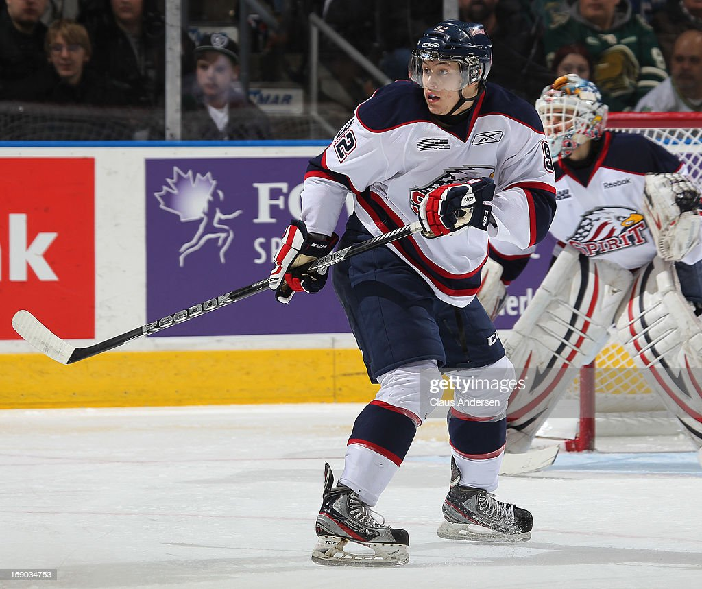 Ramon Lopez #92 of the Saginaw Spirit skates in an OHL game against the London Knights on January 4, 2013 at the Budweiser Gardens in London, Canada. The Knights defeated the Spirit 8-2.