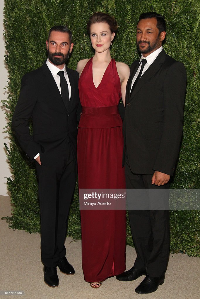 Ramon Martin, Evan Rachel Wood, and Ryan Lobo attend CFDA and Vogue 2013 Fashion Fund Finalists Celebration at Spring Studios on November 11, 2013 in New York City.