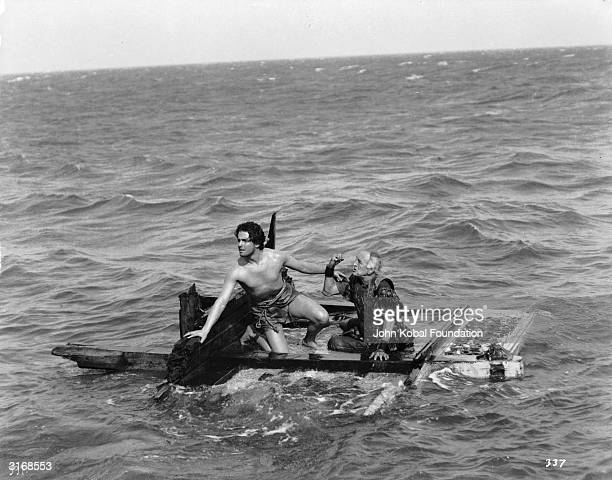 Ramon Novarro and Frank Currier are left drifting on a raft after a sea battle in the Roman epic 'BenHur' directed by Fred Niblo