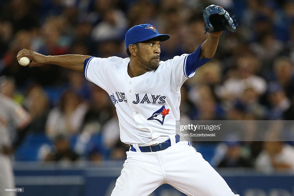 <a gi-track='captionPersonalityLinkClicked' href=/galleries/search?phrase=Ramon+Ortiz&family=editorial&specificpeople=212786 ng-click='$event.stopPropagation()'>Ramon Ortiz</a> #34 of the Toronto Blue Jays delivers a pitch during MLB game action against the San Francisco Giants on May 15, 2013 at Rogers Centre in Toronto, Ontario, Canada.