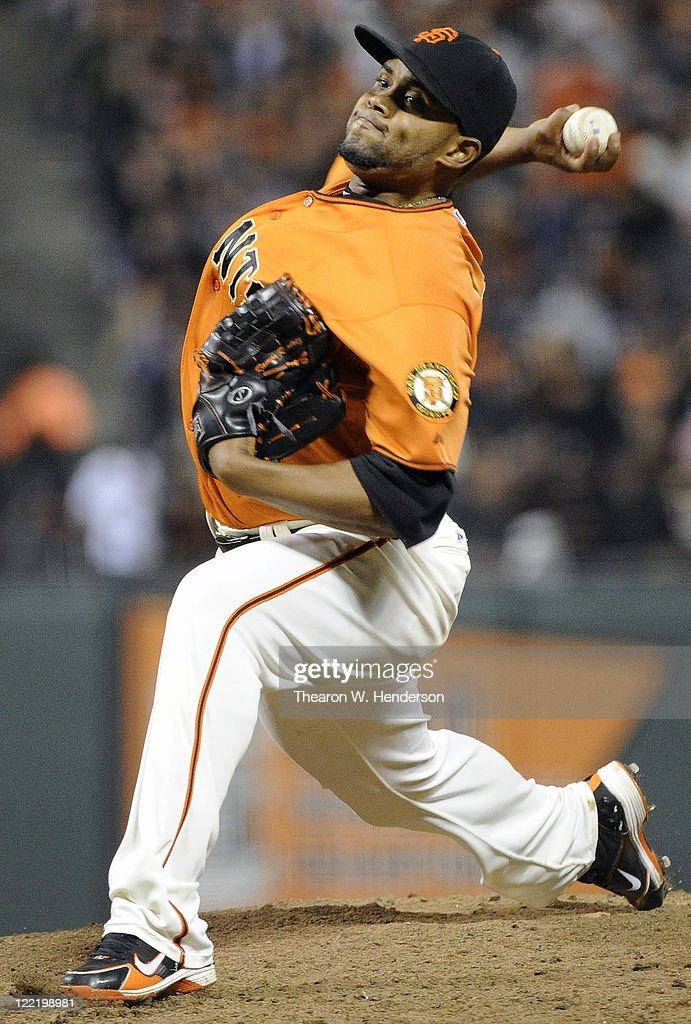 Ramon Ramirez #52 of the San Francisco Giants pitches against the Houston Astros in the eighth inning during an MLB baseball game August 26, 2011 at AT&T Park in San Francisco, California.