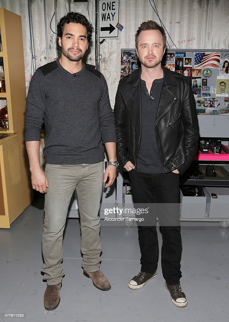 Ramon Rodriguez and Aaron Paul are seen on the set of Univision's Despierta America morning show to promote the movie 'Need for Speed' at Univision Headquarters on March 10, 2014 in Miami, Florida.
