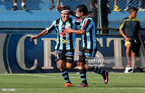 Ramon Rodriguez of Real Garcilaso celebrates a scored goal against Sporting Cristal during a match between Sporting Cristal and Real Garcilaso as...
