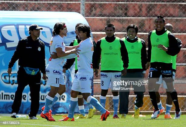 Ramon Rodriguez of Real Garcilaso celebrates after scoring the first goal of his team against Sporting Cristal during a match between Real Garcilaso...