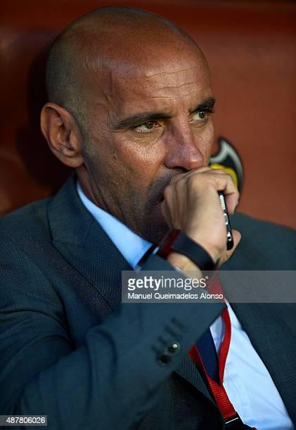 Ramon Rodriguez Verdejo 'Monchi' Sporting Director of Sevilla FC looks on prior to the La Liga match between Levante UD and Sevilla FC at Ciutat de...
