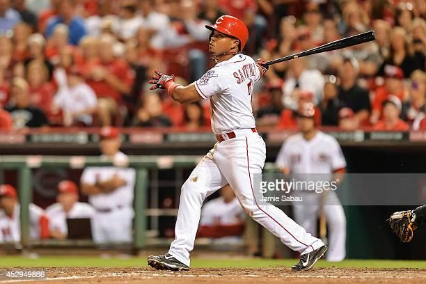 Ramon Santiago of the Cincinnati Reds bats against the Arizona Diamondbacks at Great American Ball Park on July 29 2014 in Cincinnati Ohio Cincinnati...