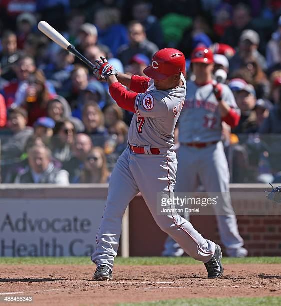 Ramon Santiago of the Cincinnati Reds bats against the Chicago Cubs at Wrigley Field on April 18 2014 in Chicago Illinois The Reds defeated the Cubs...