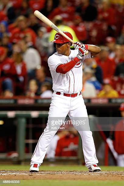 Ramon Santiago of the Cincinnati Reds bats against the Milwaukee Brewers at Great American Ball Park on May 2 2014 in Cincinnati Ohio Milwaukee...