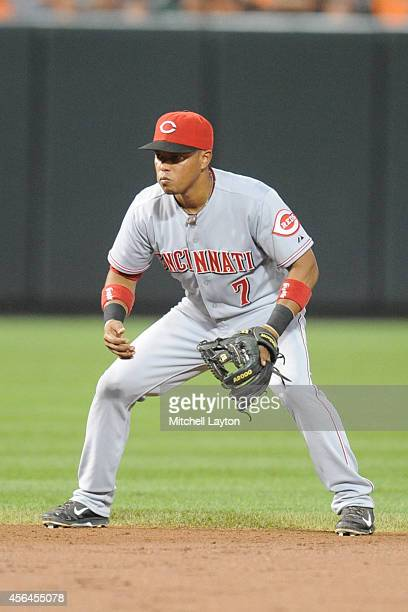 Ramon Santiago of the Cincinnati Reds during a baseball game against the Baltimore Orioles on September 3 2014 at Oriole Park at Camden Yards in...