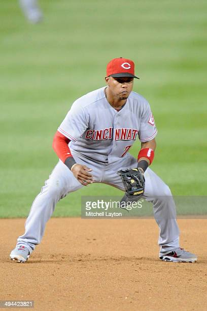 Ramon Santiago of the Cincinnati Reds in position during the game against the Washington Nationals on May 20 2014 at Nationals Park in Washington DC...