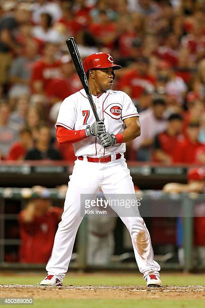 Ramon Santiago of the Cincinnati Reds takes an at bat during the game against the Philadelphia Phillies at Great American Ball Park on June 6 2014 in...
