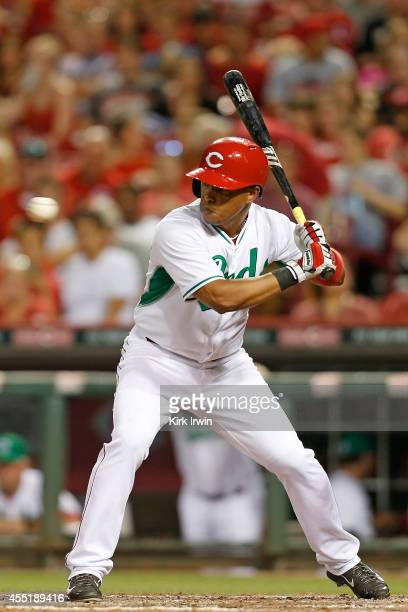 Ramon Santiago of the Cincinnati Reds takes an at bat during the game against the New York Mets at Great American Ball Park on September 5 2014 in...