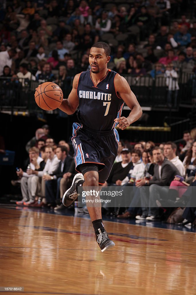 <a gi-track='captionPersonalityLinkClicked' href=/galleries/search?phrase=Ramon+Sessions&family=editorial&specificpeople=805440 ng-click='$event.stopPropagation()'>Ramon Sessions</a> #7 of the Charlotte Bobcats dribbles the ball upcourt against the Dallas Mavericks on October 26, 2012 at the American Airlines Center in Dallas, Texas.