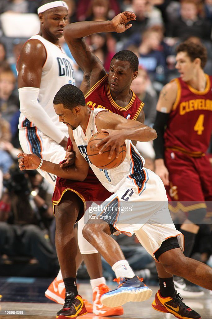 Ramon Sessions #7 of the Charlotte Bobcats drives against the Cleveland Cavaliers at the Time Warner Cable Arena on January 4, 2013 in Charlotte, North Carolina.