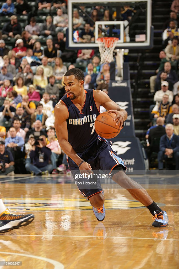 Ramon Sessions #7 of the Charlotte Bobcats drives against the Indiana Pacers on February 13, 2013 at Bankers Life Fieldhouse in Indianapolis, Indiana.