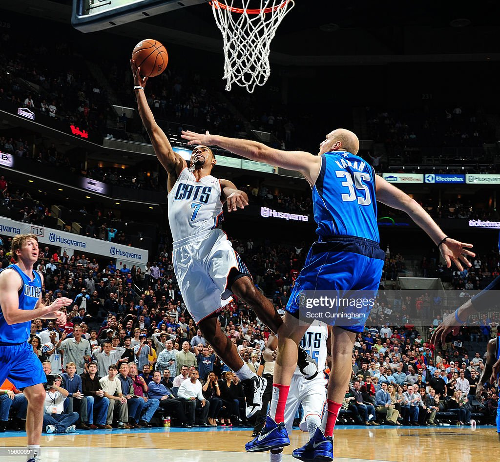 Ramon Sessions #7 of the Charlotte Bobcats drives to the basket against <a gi-track='captionPersonalityLinkClicked' href=/galleries/search?phrase=Chris+Kaman&family=editorial&specificpeople=201661 ng-click='$event.stopPropagation()'>Chris Kaman</a> #35 of the Dallas Mavericks at Time Warner Cable Arena on November 10, 2012 in Charlotte, North Carolina.