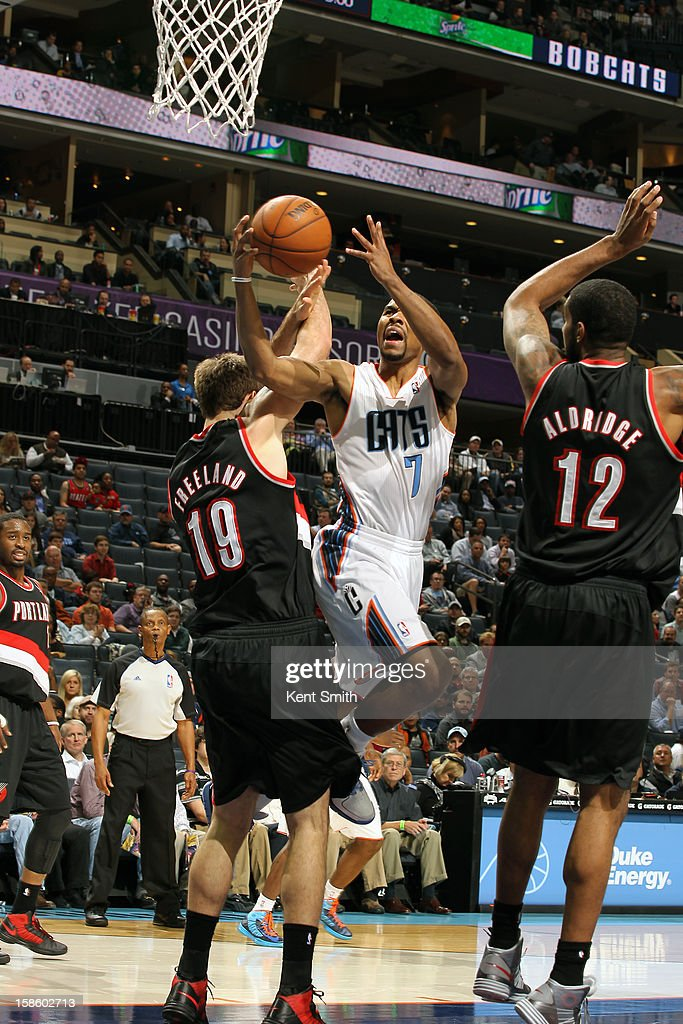 Ramon Sessions #7 of the Charlotte Bobcats drives to the basket against the Portland Trail Blazers at the Time Warner Cable Arena on December 3, 2012 in Charlotte, North Carolina.