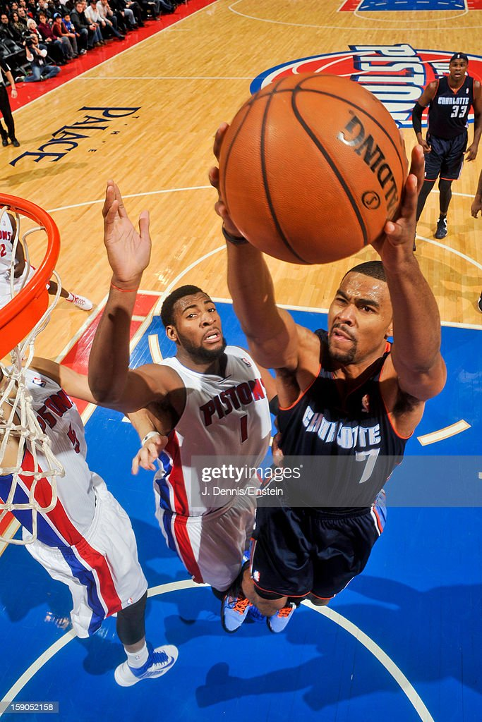 <a gi-track='captionPersonalityLinkClicked' href=/galleries/search?phrase=Ramon+Sessions&family=editorial&specificpeople=805440 ng-click='$event.stopPropagation()'>Ramon Sessions</a> #7 of the Charlotte Bobcats drives to the basket against <a gi-track='captionPersonalityLinkClicked' href=/galleries/search?phrase=Andre+Drummond&family=editorial&specificpeople=7122456 ng-click='$event.stopPropagation()'>Andre Drummond</a> #1 of the Detroit Pistons on January 6, 2013 at The Palace of Auburn Hills in Auburn Hills, Michigan.