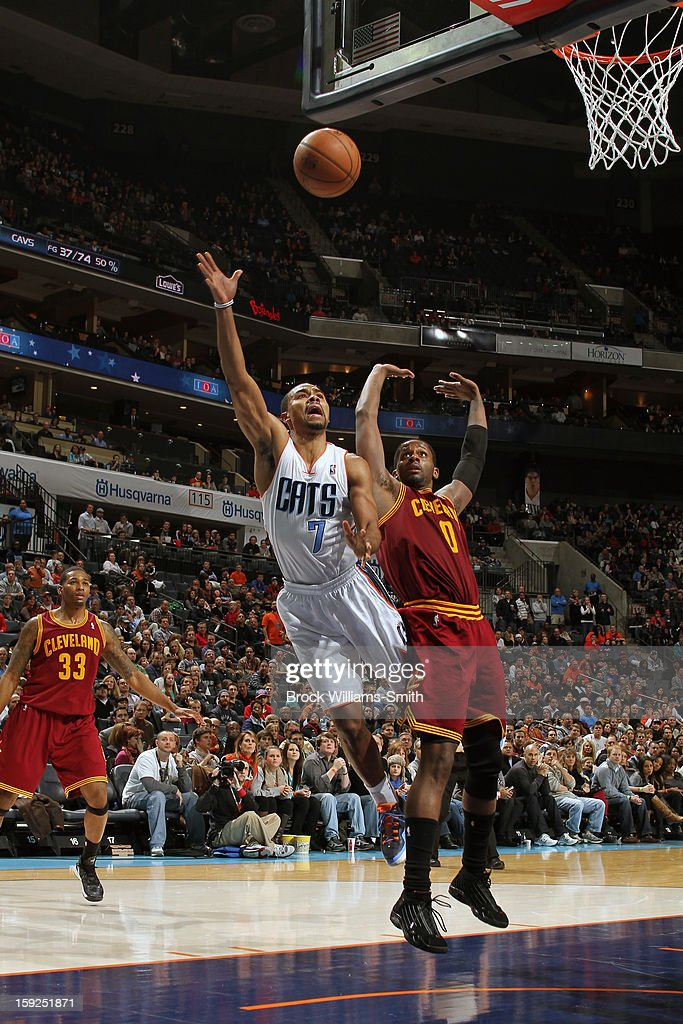 <a gi-track='captionPersonalityLinkClicked' href=/galleries/search?phrase=Ramon+Sessions&family=editorial&specificpeople=805440 ng-click='$event.stopPropagation()'>Ramon Sessions</a> #7 of the Charlotte Bobcats drives to the basket against the Cleveland Cavaliers at the Time Warner Cable Arena on January 4, 2013 in Charlotte, North Carolina.
