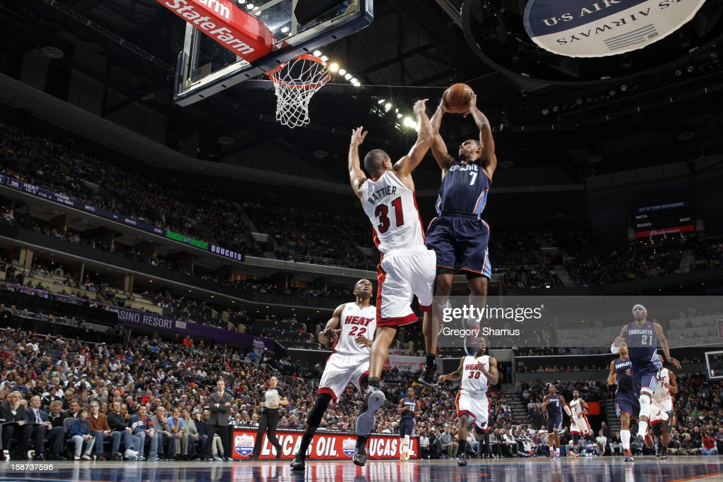 <a gi-track='captionPersonalityLinkClicked' href=/galleries/search?phrase=Ramon+Sessions&family=editorial&specificpeople=805440 ng-click='$event.stopPropagation()'>Ramon Sessions</a> #7 of the Charlotte Bobcats goes to the basket against <a gi-track='captionPersonalityLinkClicked' href=/galleries/search?phrase=Shane+Battier&family=editorial&specificpeople=201814 ng-click='$event.stopPropagation()'>Shane Battier</a> #31 of the Miami Heat during the game between the Miami Heat and the Charlotte Bobcats at the Time Warner Cable Arena on December 26, 2012 in Charlotte, North Carolina.