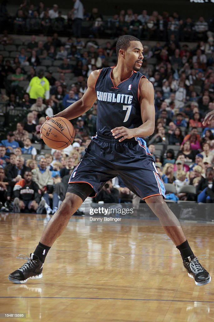 <a gi-track='captionPersonalityLinkClicked' href=/galleries/search?phrase=Ramon+Sessions&family=editorial&specificpeople=805440 ng-click='$event.stopPropagation()'>Ramon Sessions</a> #7 of the Charlotte Bobcats handles the ball against the Dallas Mavericks on October 26, 2012 at the American Airlines Center in Dallas, Texas.