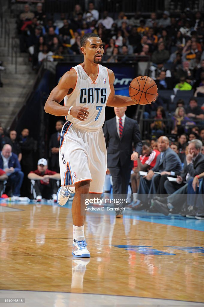 <a gi-track='captionPersonalityLinkClicked' href=/galleries/search?phrase=Ramon+Sessions&family=editorial&specificpeople=805440 ng-click='$event.stopPropagation()'>Ramon Sessions</a> #7 of the Charlotte Bobcats handles the ball against the Los Angeles Lakers on February 8, 2013 at the Time Warner Cable Arena in Charlotte, North Carolina.
