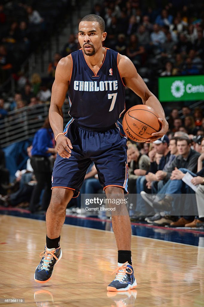 <a gi-track='captionPersonalityLinkClicked' href=/galleries/search?phrase=Ramon+Sessions&family=editorial&specificpeople=805440 ng-click='$event.stopPropagation()'>Ramon Sessions</a> #7 of the Charlotte Bobcats handling the ball during a game against the Denver Nuggets on January 29, 2014 at the Pepsi Center in Denver, Colorado.