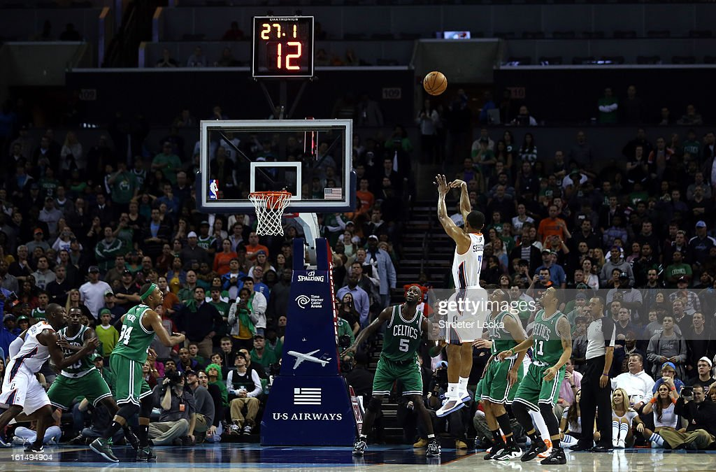 Ramon Sessions #7 of the Charlotte Bobcats makes a shot late in the fourth quarter to put the Bobcats ahead for good during their game against the Boston Celtics at Time Warner Cable Arena on February 11, 2013 in Charlotte, North Carolina.