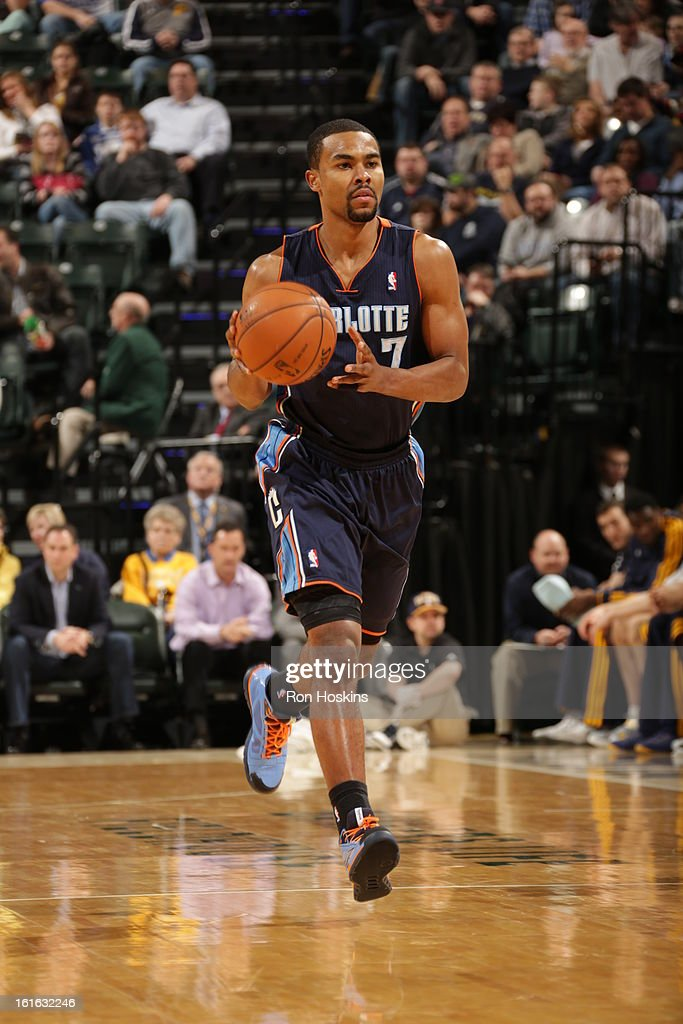 Ramon Sessions #7 of the Charlotte Bobcats pushes the ball up-court against the Indiana Pacers on February 13, 2013 at Bankers Life Fieldhouse in Indianapolis, Indiana.