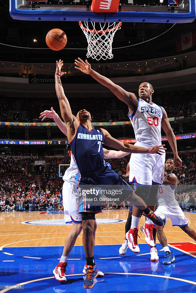 Ramon Sessions #7 of the Charlotte Bobcats shoots a layup against Lavoy Allen #50 of the Philadelphia 76ers during the game at the Wells Fargo Center on February 9, 2013 in Philadelphia, Pennsylvania.