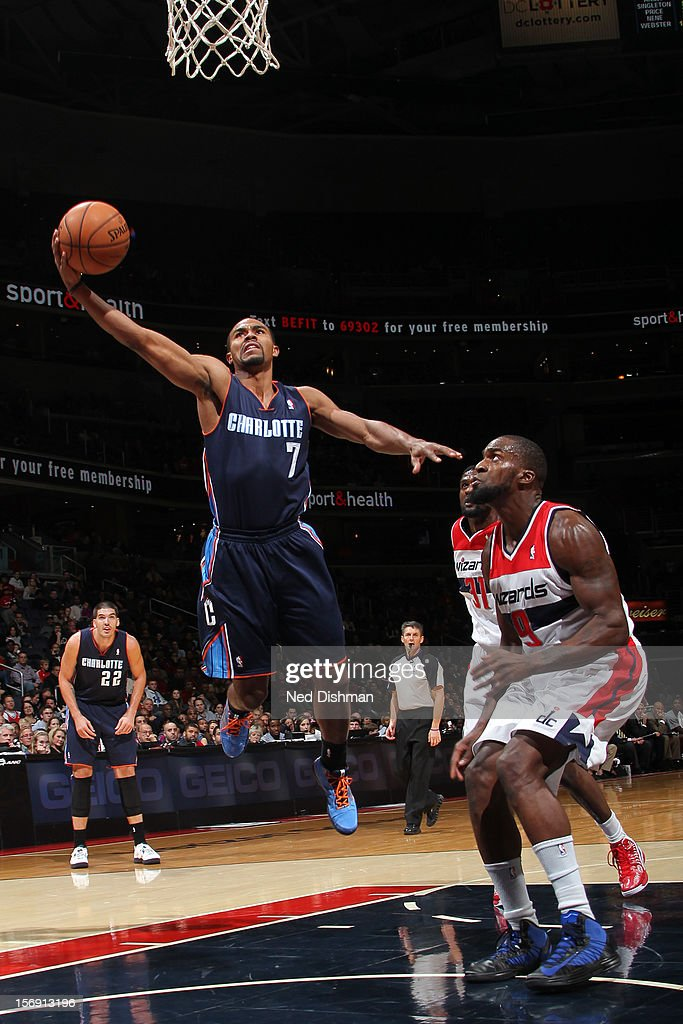 <a gi-track='captionPersonalityLinkClicked' href=/galleries/search?phrase=Ramon+Sessions&family=editorial&specificpeople=805440 ng-click='$event.stopPropagation()'>Ramon Sessions</a> #7 of the Charlotte Bobcats shoots against <a gi-track='captionPersonalityLinkClicked' href=/galleries/search?phrase=Martell+Webster&family=editorial&specificpeople=601785 ng-click='$event.stopPropagation()'>Martell Webster</a> #9 of the Washington Wizards during the game at the Verizon Center on November 24, 2012 in Washington, DC.