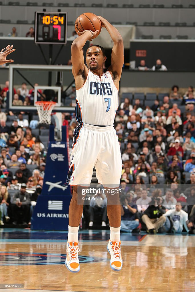 <a gi-track='captionPersonalityLinkClicked' href=/galleries/search?phrase=Ramon+Sessions&family=editorial&specificpeople=805440 ng-click='$event.stopPropagation()'>Ramon Sessions</a> #7 of the Charlotte Bobcats shoots against the Brooklyn Nets at the Time Warner Cable Arena on March 6, 2013 in Charlotte, North Carolina.
