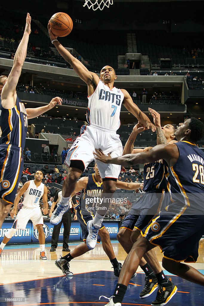 <a gi-track='captionPersonalityLinkClicked' href=/galleries/search?phrase=Ramon+Sessions&family=editorial&specificpeople=805440 ng-click='$event.stopPropagation()'>Ramon Sessions</a> #7 of the Charlotte Bobcats shoots against the Indiana Pacers at the Time Warner Cable Arena on January 15, 2013 in Charlotte, North Carolina.