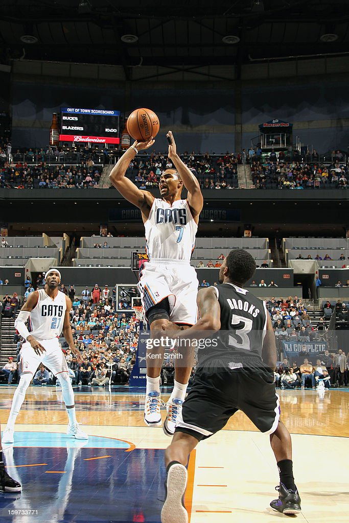 Ramon Sessions #7 of the Charlotte Bobcats shoots against the Sacramento Kings at the Time Warner Cable Arena on January 19, 2013 in Charlotte, North Carolina.
